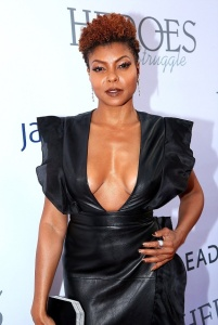 Taraji P. Henson - Deep Cleavage in Black Leather At Black AIDS Institute Gala (9/17/17)