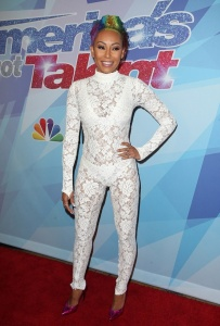 Melanie Brown -  Debuts Rainbow-hair In Another C-through Outfit At AGT (9/19/17)